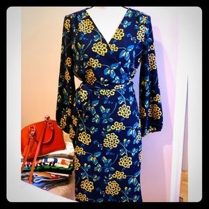 J. Crew Navy Floral Wrap Dress Size 14 NWOT